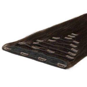 Deluxe Clip in Vlasy 50cm 200g Tmavo Hnedá 02-2972